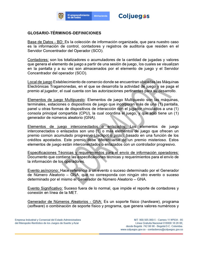 Coljuegos published the Conditions for Gambling Homologation